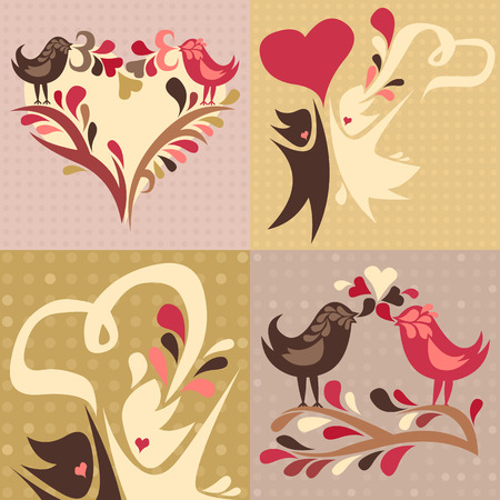 set of four love themed cards featuring two love birds and a wedding couple Vector