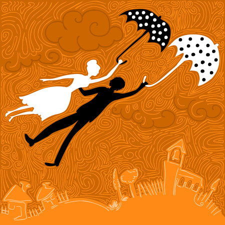 couple in love flying above the church and houses holding umbrellas Ilustracja