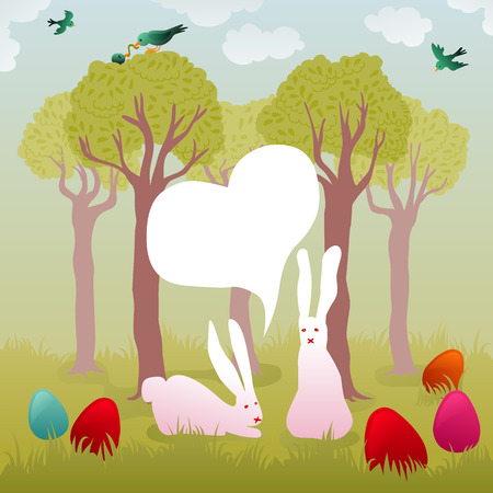 rebirth: cute easter illustration with trees, colorful painted eggs, couple of white bunnies and birds Illustration