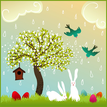 flowery: cute easter illustration with flowery tree, colorful painted eggs, couple of white bunnies and a pair of birds