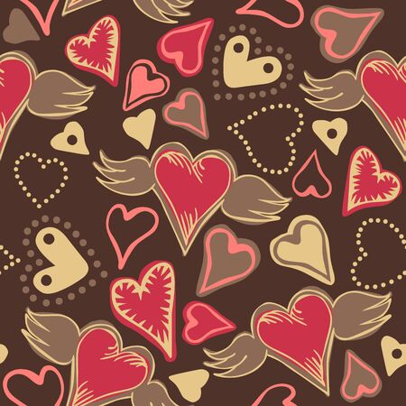 pastel colored: seamless doodle pastel colored hearts on dark grey background Illustration