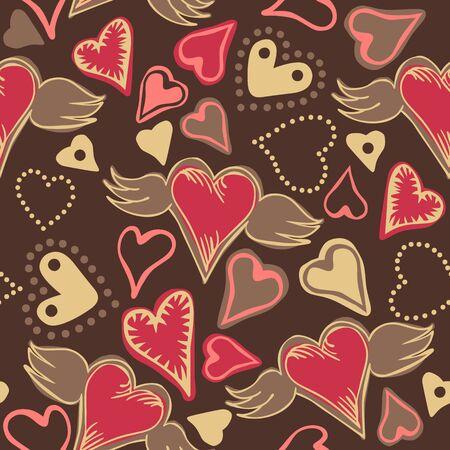zökkenőmentes doodle pasztell színű szív sötét szürke háttér