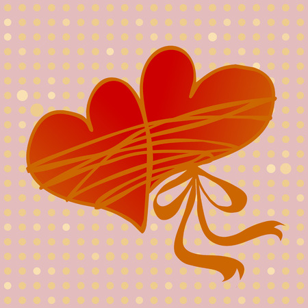 tied together: pair of hearts tied together by love