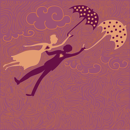 flying couple in love with dotted umbrellas