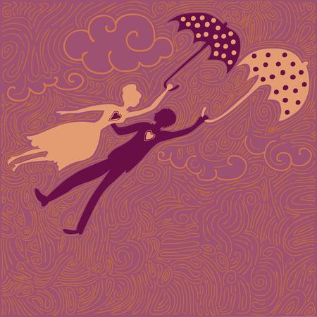 repülő szerelmes pár pöttyös esernyő Illusztráció