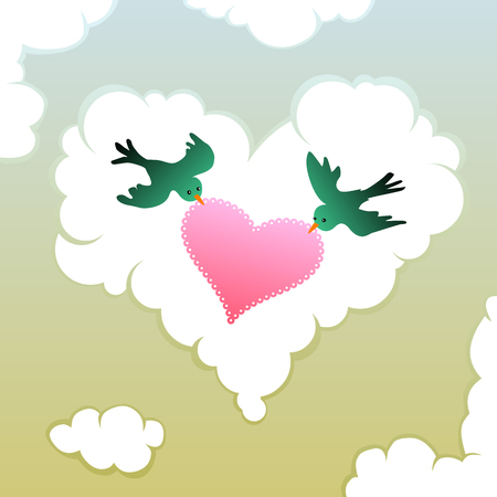 pair of love birds holding a lacy heart in front of a heart shape cloud