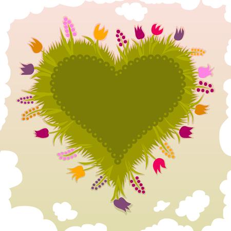 szív alakú kerti virágok Illusztráció