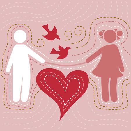 mosca caricatura: ilustraci�n minimalista de una pareja cari�osa en el amor