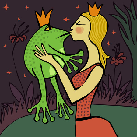 pretty blonde princess kissing the frog Ilustrace