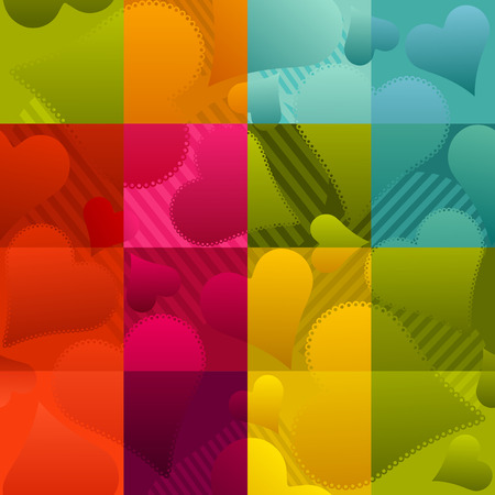 seamless multicolor love background with hearts