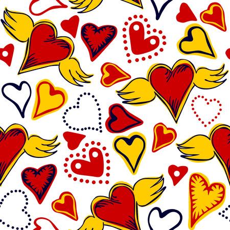 zökkenőmentes firka színes szívek fehér alapon