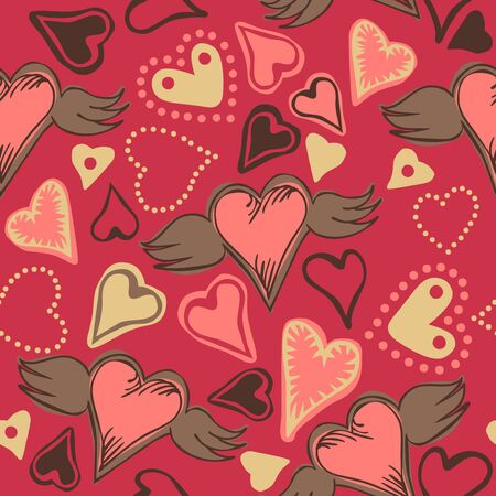 seamless doodle colorful hearts on pastel background