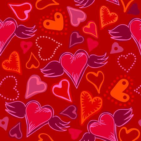 zökkenőmentes firka színes szívek, piros háttér