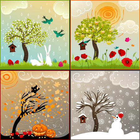 Four seasons set with tree, birdhouse, birds, pumpkin lanterns and snowman Ilustração
