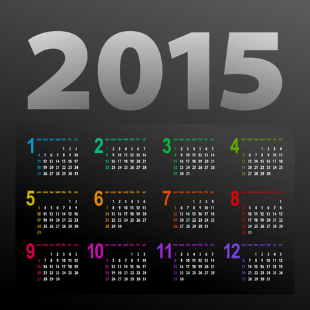 minimalistic multicolor 2015 calendar design - week starts with sunday