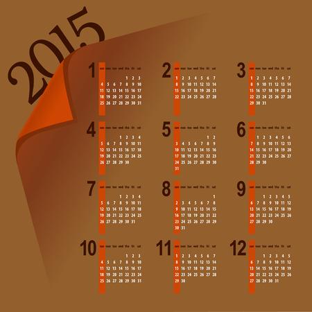minimalista többszínű 2015 naptár tervezés - hét kezdődik vasárnap
