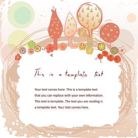 csinos doodle vintage keret színes kert