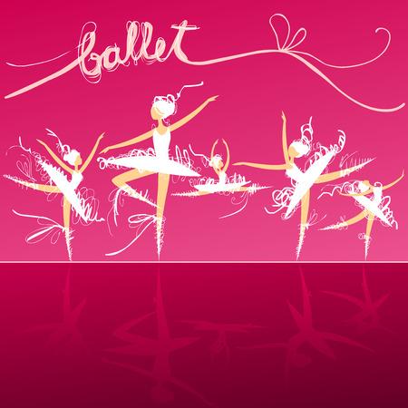 ballet ni�as: conjunto de los bailarines de ballet del doodle din�micos en un escenario