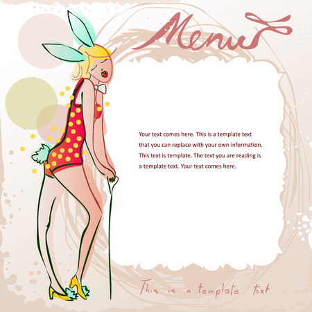 barmaid: doodle menu frame featuring cute girl in bunny costume