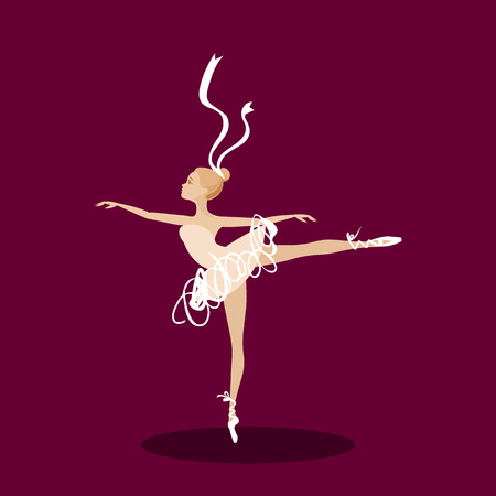ballerina silhouette: elegant, graceful ballet dancer in pose on stage
