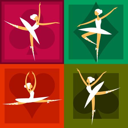 állítsa csinos balett-táncosok különböző pózok