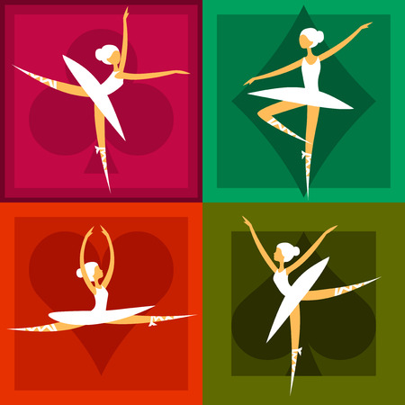 set of pretty ballet dancers in various poses Ilustracja