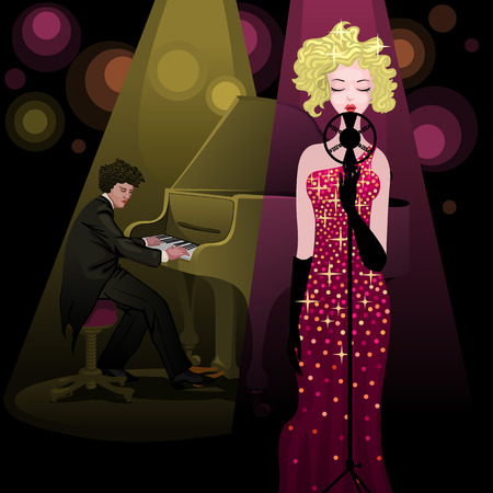 pretty blonde singer performing on stage accompanied by a cute pianist Illustration