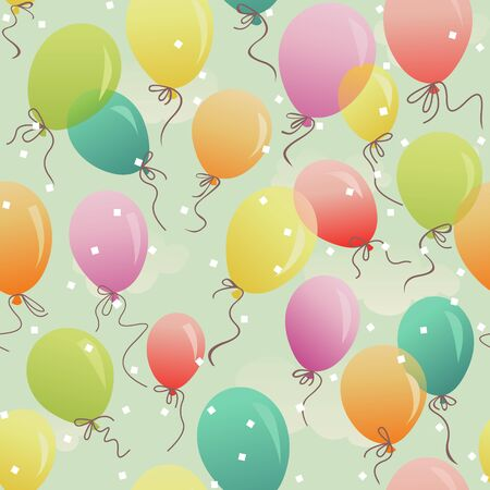 seamless pattern - colorful festive balloons in the sky Ilustracja