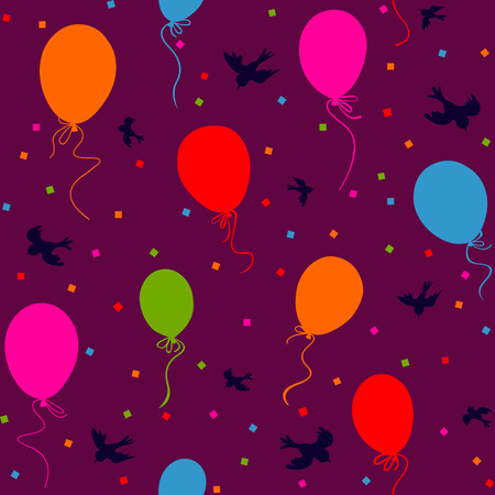 seamless pattern - multicolor balloons flying in the sky with birds and confetti on dark purple background