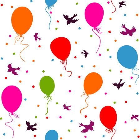 seamless pattern - multicolor balloons flying in the sky with birds and confetti on white background