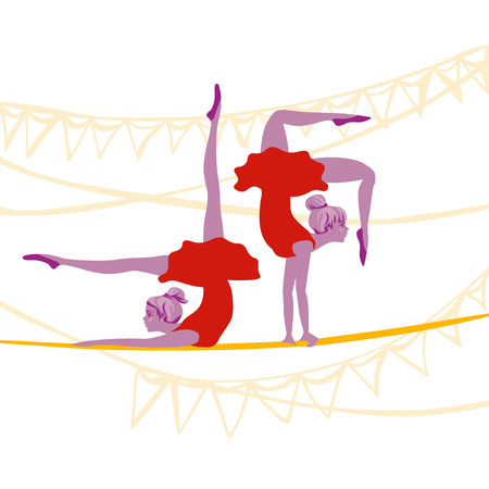 pretty acrobat ballerinas excersize gracefully on a rope