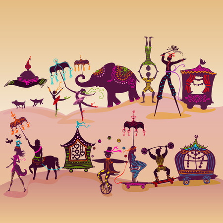 traveling colorful circus caravan with magician, elephant, dancer, acrobat and various fun characters Ilustracja