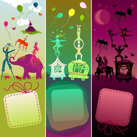 acrobat: cards set - traveling colorful circus caravan with magician, elephant, dancer, acrobat and various fun characters