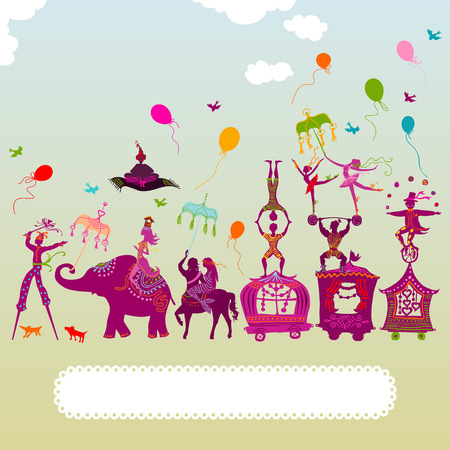 ballerina silhouette: traveling colorful circus caravan with magician, elephant, dancer, acrobat and various fun characters Illustration