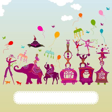 fondo de circo: viajar colorido caravana de circo con el mago, elefante, bailarín, acróbata y varios personajes divertidos Vectores