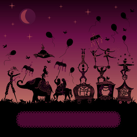 traveling circus caravan at night with magician, elephant, dancer, acrobat and various fun characters