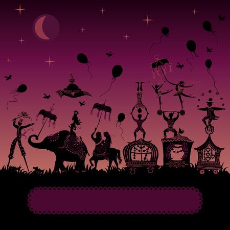 siluetas de elefantes: viajar caravana de circo en la noche con el mago, elefante, bailarín, acróbata y varios personajes divertidos