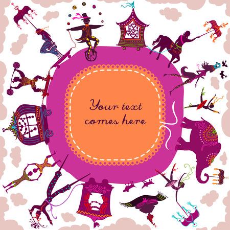 Circling circus caravan framing a label with magician, elephant, dancer, acrobat and various fun characters