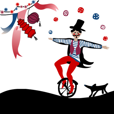 young acrobat juggling on a unicycle followed by his dog under party decoration Иллюстрация