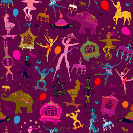 acrobat: seamless pattern - colorful circus with magician, elephant, dancer, acrobat and various fun characters