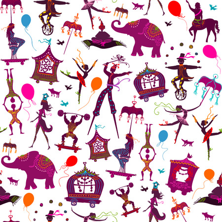 costume ball: seamless pattern - colorful circus with magician, elephant, dancer, acrobat and various fun characters