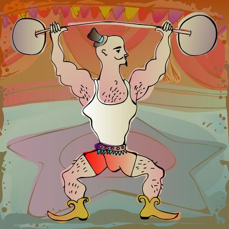 cirkuszi előadók - izmos erős ember teljesítő egy cirkuszi színpadon