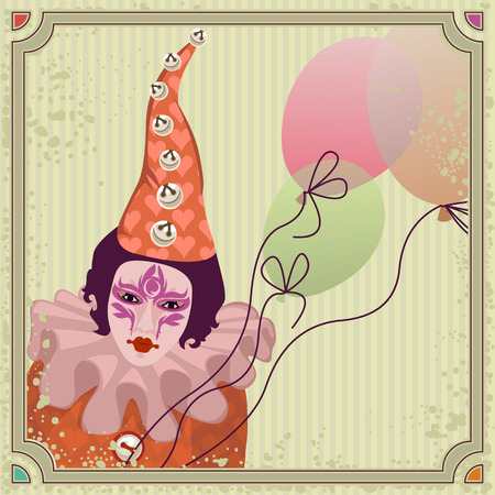 Carnival clown in colorful costume with balloons Vector