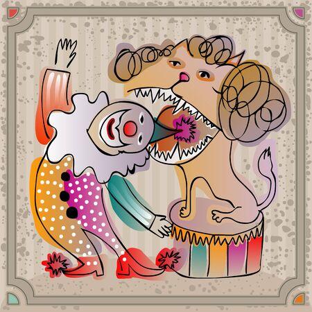 cirkuszi bohóc végez színpadon aktus egy oroszlán Illusztráció