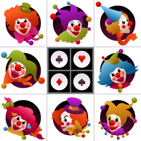 set of cards - colorfully costumed and painted clown portraits Ilustracja