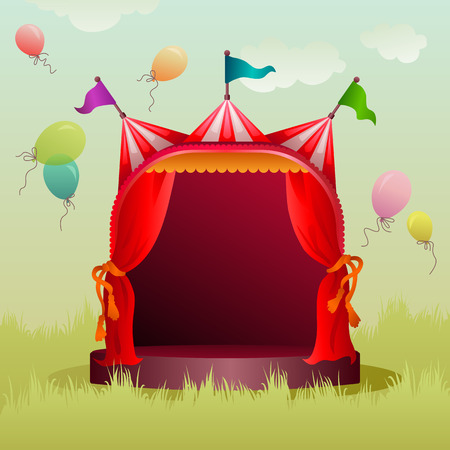 cupola: colorful, decorated circus tent on a meadow with balloons