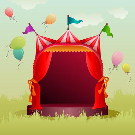színes, díszített cirkuszi sátor a réten léggömbökkel Illusztráció