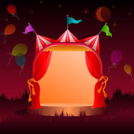 színes, díszített cirkuszi sátor a réten léggömbökkel éjszaka