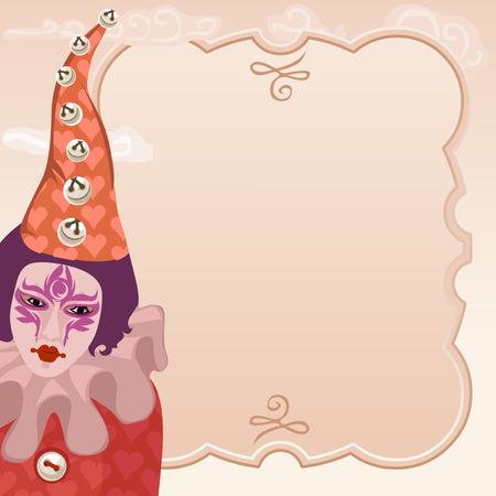 Farsangi bohóc színes ruha előtt egy díszes keretben