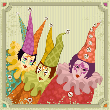 vintage lady: Carnival clowns in colorful costumes Illustration